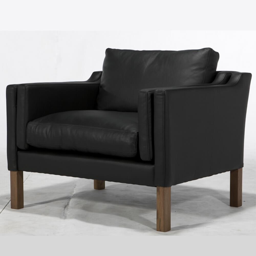 Stallion soffa 3-2-1 sits i äkta svart läder