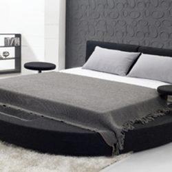 Terra rund säng 180x200 cm i svart tyg - 1