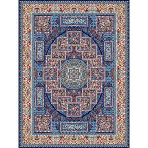 Lobat orientalisk matta - mörkblå